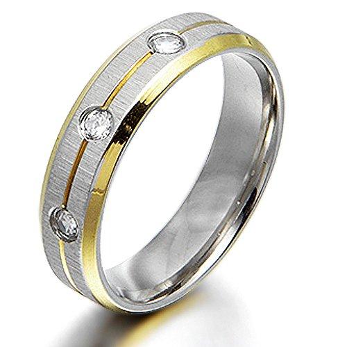 Gemini Damen-Ring Titan , Herren-Ring Titan , Freundschaftsringe , Hochzeitsringe , Eheringe, Bicolor, Zirkonia Breite 6mm Größe54 (17.2)