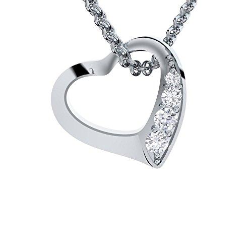 Geschenk Freundin für Frauen Herz Kette Herzkette Silber 925 Herzanhänger Anhänger mit Gravur + GRATIS Etui romantische Geschenke Ich liebe Dich personalisierte persönliche Geschenke FF02SS925ZIFA45