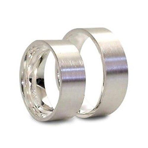 Glanzwelten Set-P-3021 Silberne Trauringe / Partnerringe (Paar) / Freundschaftsringe / Eheringe aus 925er Sterlingsilber matt