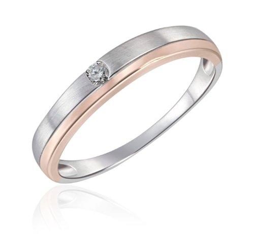 Goldmaid Damen-Ring 9 Karat 375 Bicolor Verlobungsring 1 Brillant 0,05 ct. Gr. 54 (17.2) So R6260WR54