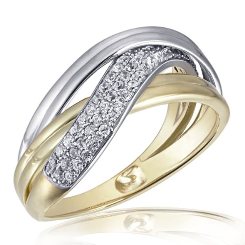 Goldmaid Damen-Ring 925 Sterling Silber Classic Bicolor vergoldet 71 weiße Zirkonia Gr. 60 (19.1) Pa R6379S60
