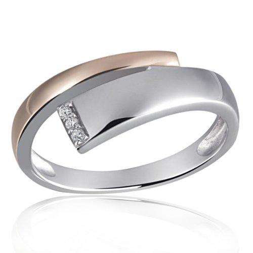 Goldmaid Damen-Ring 925 Sterling Silber weiß Diamanten Bicolor 3 Diamanten 0,03 ct. Gr. 54 (17.2) Sd R6118S54