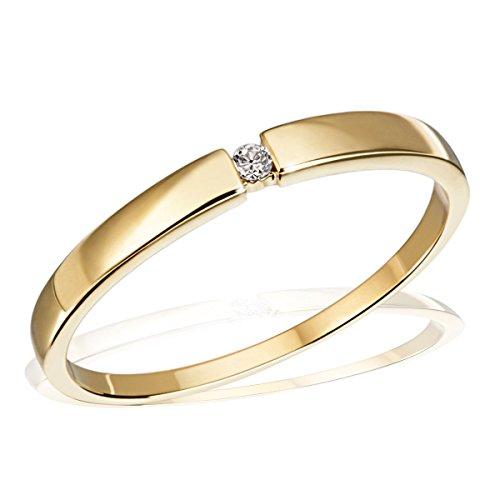 Goldmaid Ring Solitär Spannfassung 333 1 Brillant 0,03 ct.