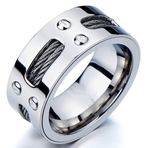 Herren-Ring- Band- Ehering- Trauring- Edelstahl- mit Stahl-Kabel und Schrauben(8)