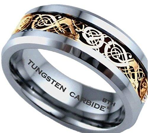 Herren-Ring Wolframcarbid keltische Details aus Gold bequeme Passform