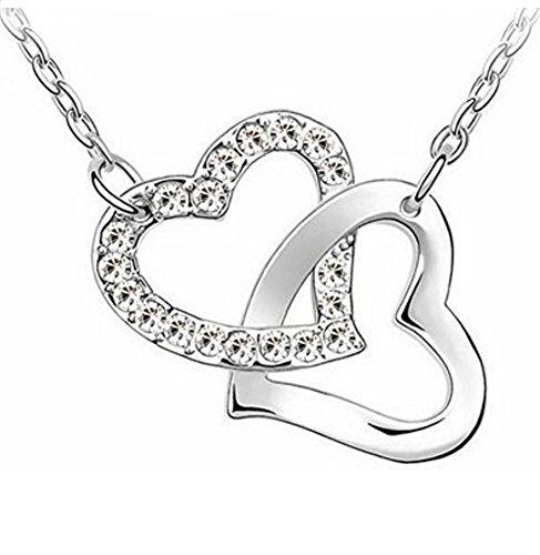 Herzkette Silber Damen Halskette mit Herzanhänger - Marke: GlimOrb®