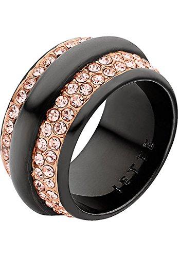 JETTE Magic Passion Damen-Ring Metall 102 Kristall rosé/schwarz, 57 (18.1)