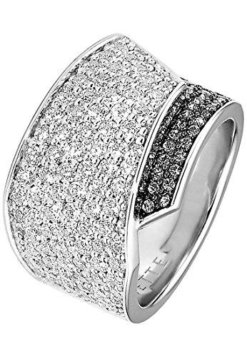 JETTE Silver Damen-Ring 925er Silber 86 Zirkonia 35 Kristall silber, 55 (17.5)