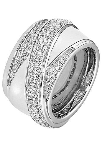 JETTE Silver Damen-Ring 925er Silber Zirkonia silber, 53 (16.9)
