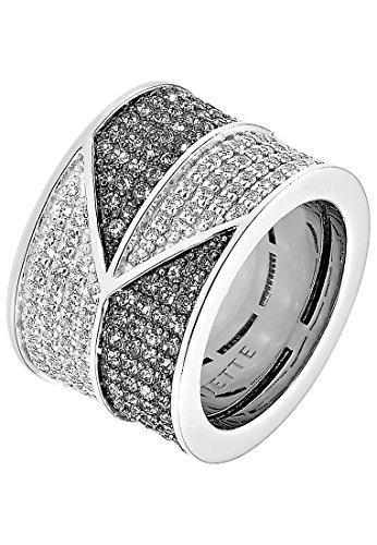 JETTE Silver Damen-Ring 925er Silber rhodiniert 102 Zirkonia 102 Kristall silber,schwarz, 61 (19.4)