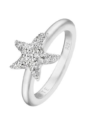 JETTE Silver Damen-Ring FANCY GARDEN 925er Silber rhodiniert 49 Zirkonia silber, 51 (16.2)