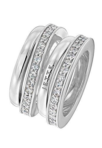 JETTE Silver Damen-Ring FLOW 925er Silber 58 Zirkonia silber, 61 (19.4)
