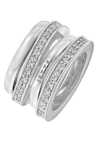 JETTE Silver Damen-Ring Flow 925er Silber rhodiniert 62 Zirkonia silber, 55 (17.5)