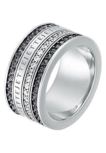 JETTE Silver Damen-Ring Frame 925er Silber rhodiniert Zirkonia Kristall silber, 51 (16.2)