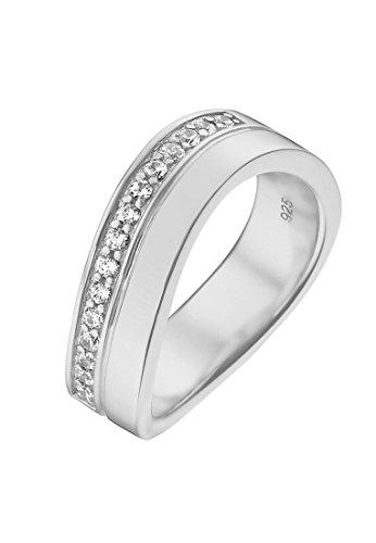 JETTE Silver Damen-Ring Free Spirit 925er Silber 15 Zirkonia silber, 55 (17.5)