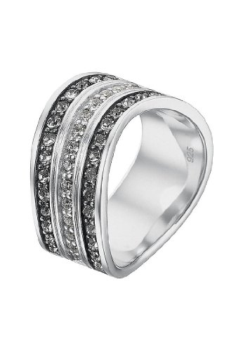 JETTE Silver Damen-Ring Free Spirit 925er Silber rhodiniert 14 Zirkonia 28 Kristall silber, 59 (18.8)