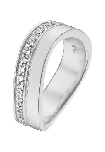 JETTE Silver Damen-Ring Free Spirit 925er Silber rhodiniert 15 Zirkonia silber, 59 (18.8)