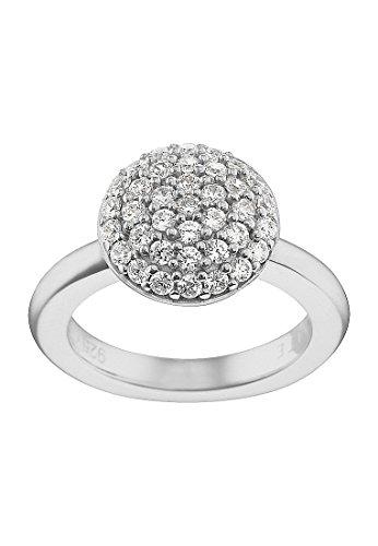 JETTE Silver Damen-Ring Precious Bowl 925er Silber rhodiniert 37 Zirkonia silber, 55 (17.5)