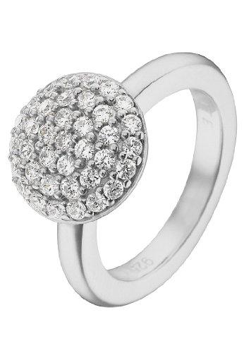 JETTE Silver Damen-Ring Precious Bowl 925er Silber rhodiniert 37 Zirkonia silber, 59 (18.8)
