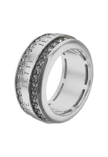 JETTE Silver Damen-Ring Round About 925er Silber rhodiniert 32 Kristall 32 Zirkonia silber, 51 (16.2)