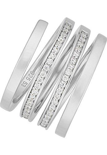JETTE Silver Damen-Ring Write 925er Silber 50 Zirkonia silber, 57 (18.1)