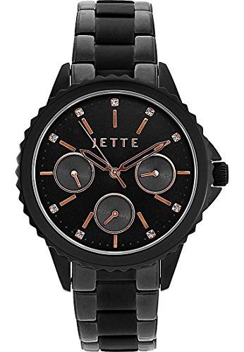 JETTE Time Damen-Armbanduhr Analog Quarz One Size, schwarz/rosé, schwarz