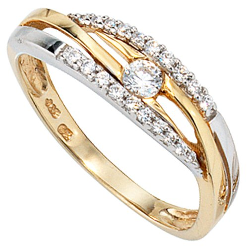JOBO Damen-Ring 333 Gold Gelbgold Weißgold kombiniert mit Zirkonia Größe 56