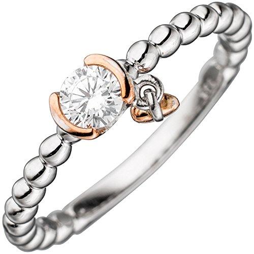 JOBO Damen Ring 925 Sterling Silber bicolor 1 Zirkonia Größe 58