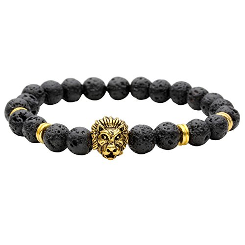 JOVIVI Schmuck, Lava-Armband Damen Herren Reiki-Energietherapie Armreif 8mm Lava Beads Buddha-Armband, Gold Löwe-Kopf Stil