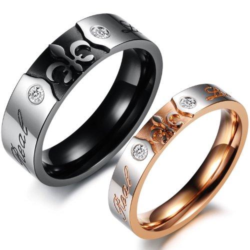 Partnerringe schwarz edelstahl  JewelryWe Schmuck 1 Paar Edelstahl Partnerringe, Fleur de Lis ...
