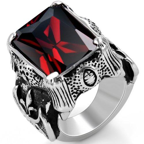 JewelryWe Schmuck Biker Edelstahl Herren-Ring, Damen-Ring, Drachenkralle mit Zirkonia, Farbe Silber Schwarz Rot Größe 52 bis 67