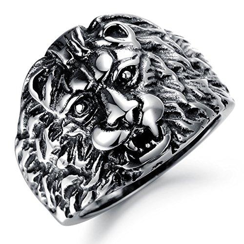 JewelryWe Schmuck Edelstahl Herrschsüchtige Löwe Herren Ring, Boutique Herrenring Bandring Band Punk Stil, Schwarz Silber, Größe 65, mit Geschenk Tüte