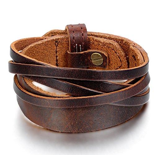 jewelrywe schmuck herren armband armreif 18 20cm verstellbaren gr en leder legierung braun. Black Bedroom Furniture Sets. Home Design Ideas