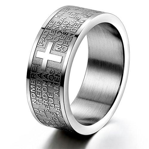 JewelryWe Schmuck Herren-Ring, Damen-Ring, Edelstahl, Bibel Gebet Kreuz, Silber, Größe 59