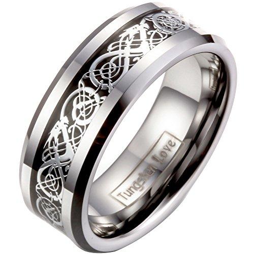 JewelryWe Schmuck Herren Wolframcarbid Ring Band Silber Schwarz Irish Celtic Knot Irischen Keltisch Knoten Drachen Jahrgang Hochzeit Größe 63