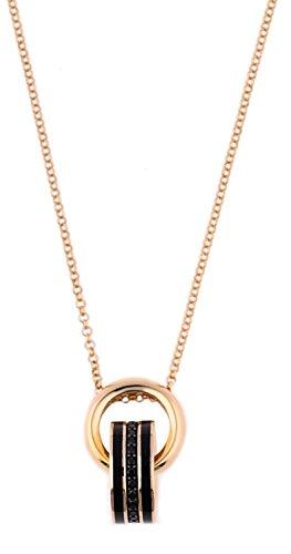 Joop! Damen-Collier Silber vergoldet Zirkonia schwarz 45 cm JPNL90639D450