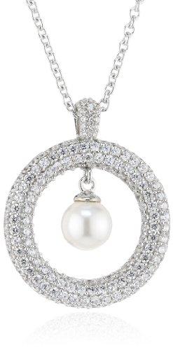 Joop Damen-Halskette 925 Sterling Silber Michelle synth. Perle weiÃY Zirkonia-Pavée ca. 47 cm (42 + 5 cm) JPNL90606A420