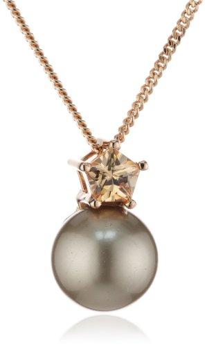 Joop Damen Halskette Silber vergoldet Perlmutt Zirkonia Gwyneth 42.0 cm braun JPNL90554C420