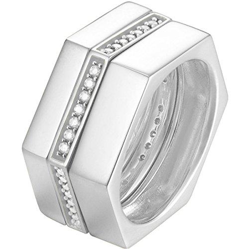 Joop! Damen-Ring 925 Silber Zirkonia weiß Gr. 57 (18.1) - JPRG90778A570