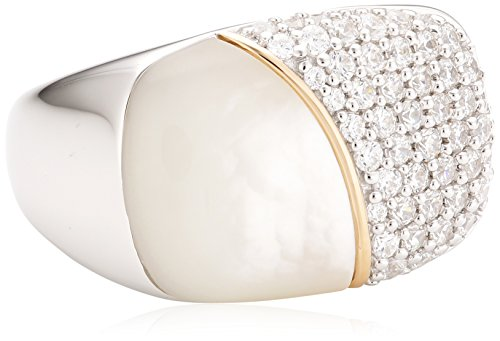 Joop Damen-Ring 925 Sterling Silber Perlmutt Zirkonia Lily weiß Gr.55 (17.5) JPRG90710A550