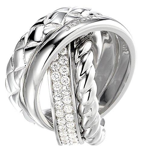 Joop Damen-Ring 925 Sterling Silber rhodiniert Kristall Zirkonia Embrace weiß Gr.59 (18.8) JPRG90476A590