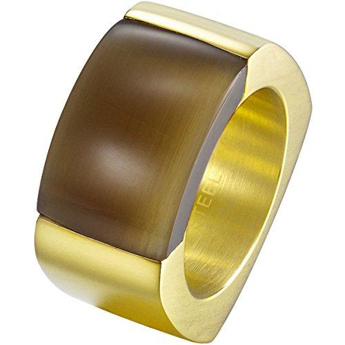Joop! Damen-Ring JP-MARVELOUS Edelstahl teilvergoldet Katzenauge braun Gr. 60 (19.1) - JPRG10614B190