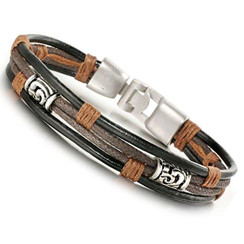 Jstyle Edelstahl Leder Armband Damen Lederarmband 22cm Handgemachte Herrenarmband Breite Silberfarbene Schwarz Seil für Männer Junge 10mm