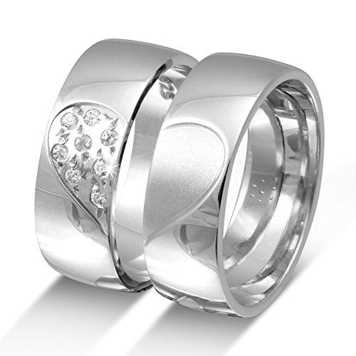 Juwelier Schönschmied- DamenZwei elegante Silberringe (massives 925 Sterling), Verlobungsringe, Hochzeitsringe mit Gratis Gravur Silber 8 Zirkonia NrS22HDla