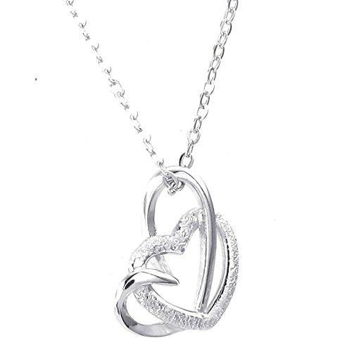 KONOV Schmuck Damen Halskette, 925 Sterling Silber Herz Anhänger mit 50cm Sterlingsilber Kette, Silber