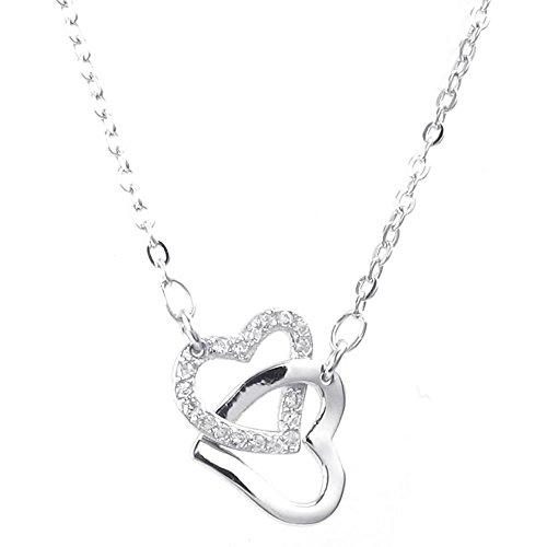 KONOV Schmuck Damen Halskette, 925 Sterling Silber Zirkonia Diamant Herz Anhänger mit 50cm Sterlingsilber Kette, Silber