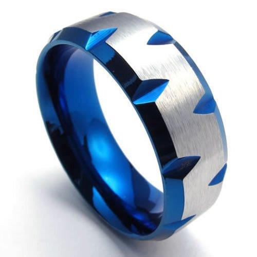 KONOV Schmuck Herren-Ring, Damen-Ring, Edelstahl, Blau Silber - Gr. 68