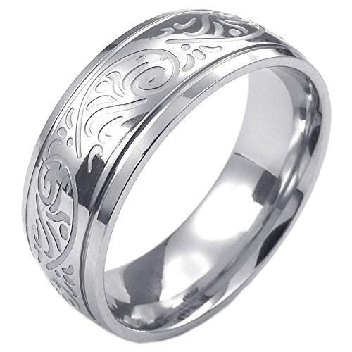 KONOV Schmuck Herren-Ring, Damen-Ring, Edelstahl, Retro Gravur Blume, Silber - Gr. 59
