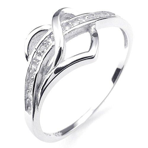 KONOV Schmuck Herren-Ring, Damen-Ring, Zirkonia Diamant 925 Sterling Silber, Klassiker Herz, Silber - Gr. 57