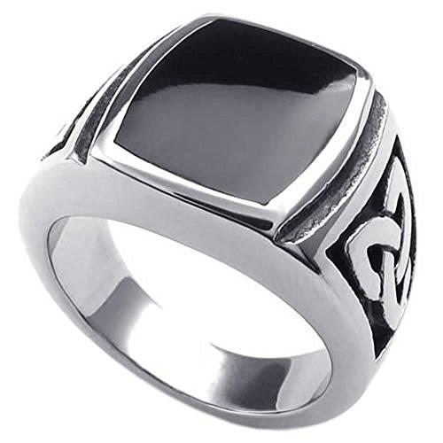 KONOV Schmuck Herren-Ring, Edelstahl, Irischen Dreiecksknoten Trinity Keltisch Knoten Siegelring, Schwarz Silber - Gr. 70